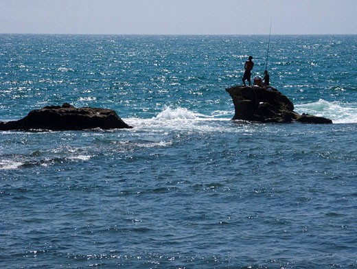 Young men fishing on rocks old city acco. Israel. : Stock Photo