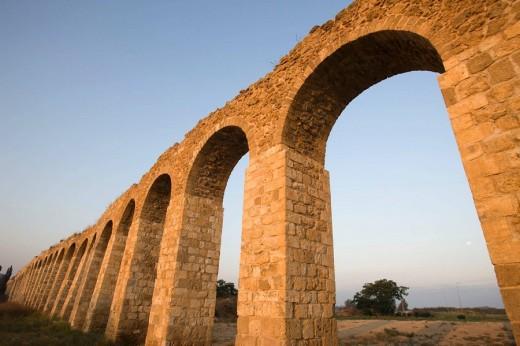 Old ottoman turkish aquaduct lohamei hagetaott kibbutz acco. Israel. : Stock Photo