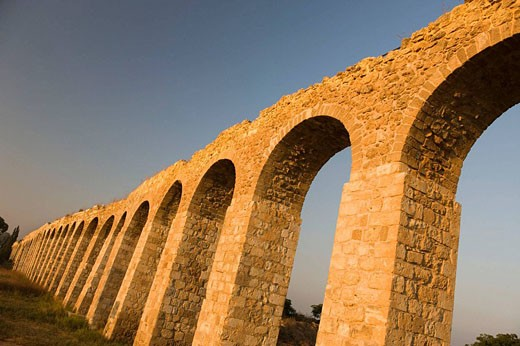 Old ottoman turkish aquaduct lohamei hagetaott kibbutz acco. Israel. : Stock Photo