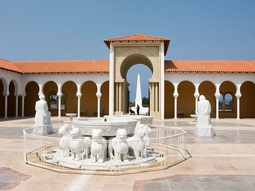 Lions fountain sephardic memorial courtyard ralli art museum caesarea. Israel. : Stock Photo