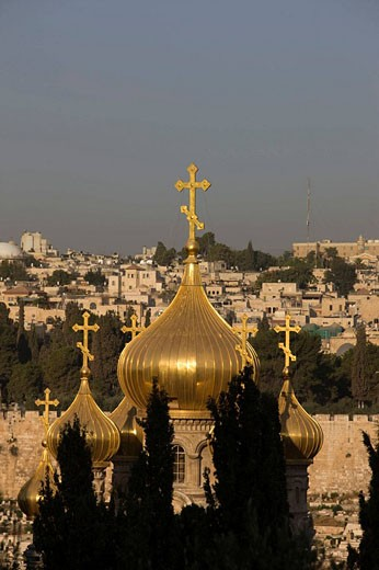 Russian orthodox church domes and dome of the rock temple mount old city jerusalem. Israel. : Stock Photo
