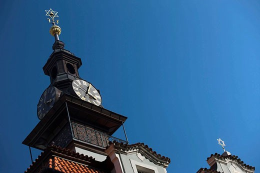 Jewish old town hall clock tower josefov jewish quarter. Prague. Czech Republic. : Stock Photo