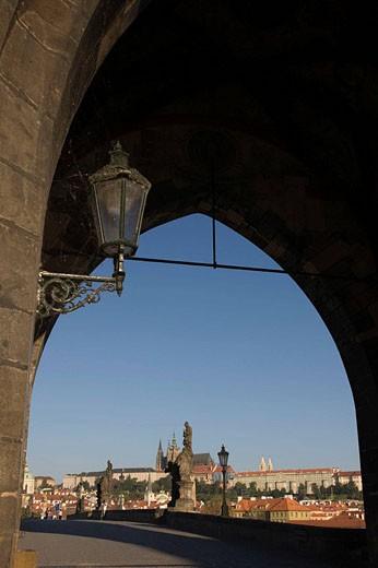 Stock Photo: 1566-468561 Lantern old town tower king charles iv bridge. Prague. Czech Republic.