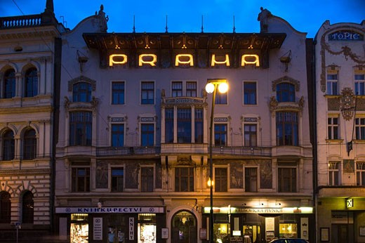 Praha art nouveau sign viola building 7 narodni street old town stare mesto. Prague. Czech Republic. : Stock Photo
