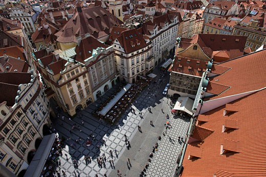 Red rooftops old town square old town stare mesto. Prague. Czech Republic. : Stock Photo