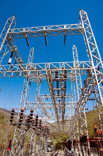 Stock Photo: 1566-469313 Europe, Spain, Andalucia, Sierra Nevada mountains electrical substation