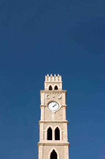 Stock Photo: 1566-469766 Khan el umdan clock tower acco old town western galilee. Israel.