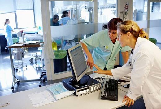 Boxes control, Resuscitation unit. Hospital Universitario de Gran Canaria Doctor Negrin, Las Palmas de Gran Canaria. Canary Islands, Spain : Stock Photo