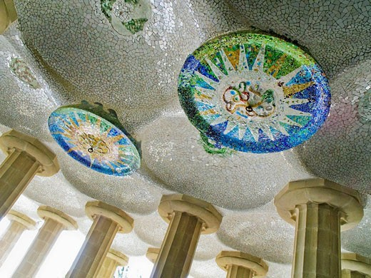 Mosaic decorations at Parc Güell by Antoni Gaudí  Barcelona  Catalonia, Spain : Stock Photo