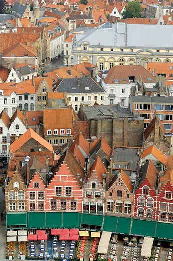 The Markt Market Place, view from the Belfry  Brugge,the Venice of the North  Western Flanders  Belgium : Stock Photo