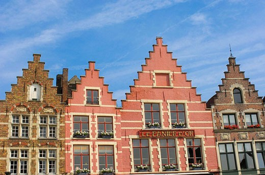 Flemish architecture at the Markt Market Square  Brugge, the Venice of the North  Western Flanders  Belgium : Stock Photo