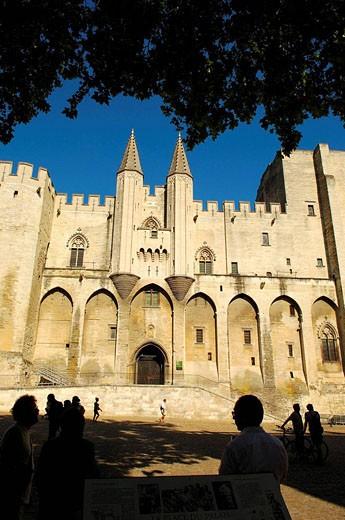 Stock Photo: 1566-472863 Papal Palace Palais des Papes  Avignon  Vaucluse  Provence-Alpes-Côte d´Azur  Rhone valley  Provence  France