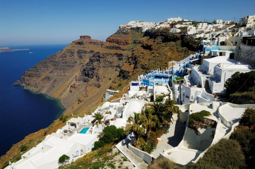 Apartments and Hotels at Crater Rib of Santorini : Stock Photo