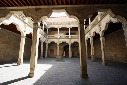 Stock Photo: 1566-473682 Courtyard of Casa de las Conchas (15th century), Salamanca. Castilla-Leon, Spain