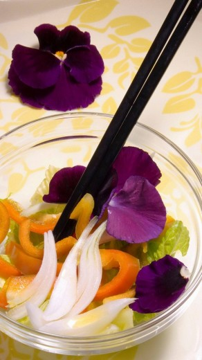 Salad with petals (thoughts) : Stock Photo