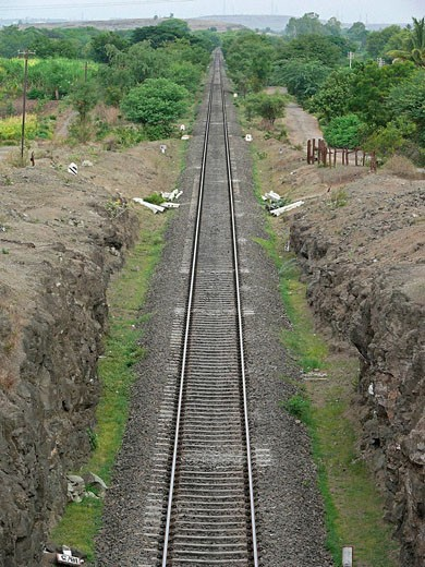 Railroad tracks  Ramdarya, Pune, Maharashtra, India : Stock Photo