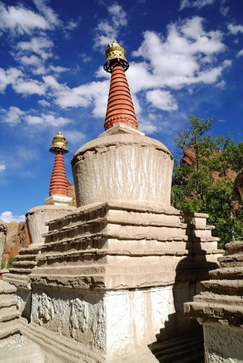 A religious building of the Far East, especially a many-storied Buddhist tower, erected as a memorial or shrine : Stock Photo