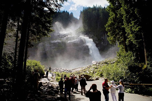 Stock Photo: 1566-474990 Tourists visiting the cascade of Krimml in the forests of National Park Hohe, in the Austrian Tirol, Austria, Germany, Europe.