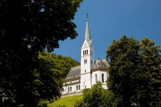 Church of St. Maarten, Bled, Slovenia, Europe. : Stock Photo