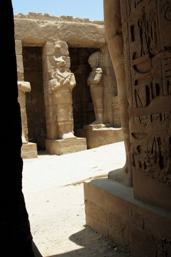 Statues of Ramesses II, Karnak temple, Luxor city, Egypt  : Stock Photo
