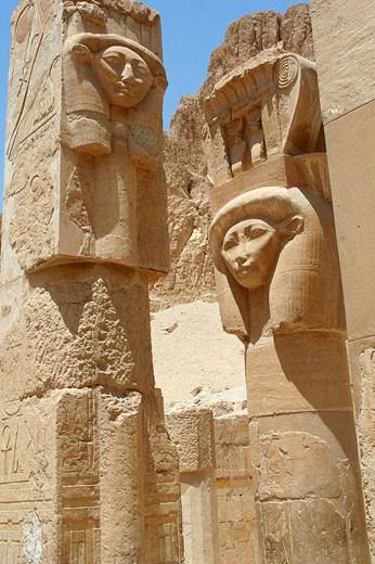 Stock Photo: 1566-475450 Goddess hathor,Temple of Queen Hatshepsut Deir el-Bahri,luxor Thebes, Egypt