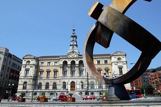 Stock Photo: 1566-478410 ´Variante ovoide de la desocupación de la esfera´, sculpture by Jorge Oteiza in front of the Town Hall, Bilbao. Biscay, Basque Country, Spain