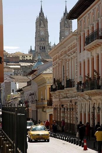 Ecuador.Quito.Historical center.Street Garcia Moreno and Basilica of the Voto Nacional (XIX-XX centurys). : Stock Photo