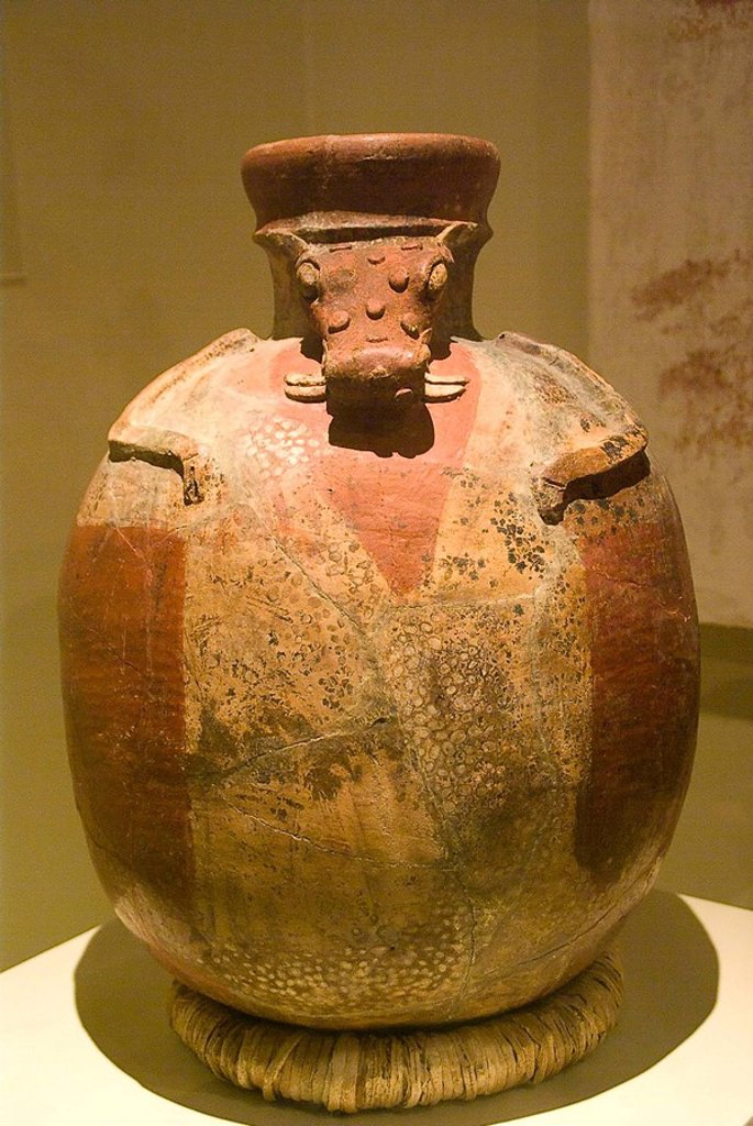 El  Salvador. San Salvador city. MUNA (National Museum of Antropology).Vessel ceramic polychrome zoomorphic from La Joya de Cerén .Pre-Columbian art.Department La Libertad. : Stock Photo