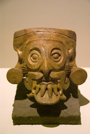 El  Salvador. San Salvador city. MUNA (National Museum of Antropology).Vessel of Tláloc.Ceramic leaden .Pre-Columbian art. : Stock Photo