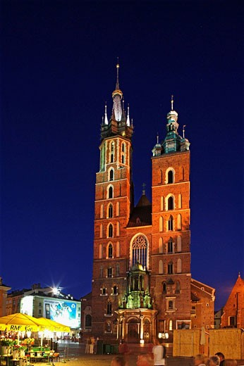 Great Market Square or Main Square,Basilica of the Virgin Mary's,14th century, Gothic Cathedral ,Cracow, Krakow,Poland : Stock Photo