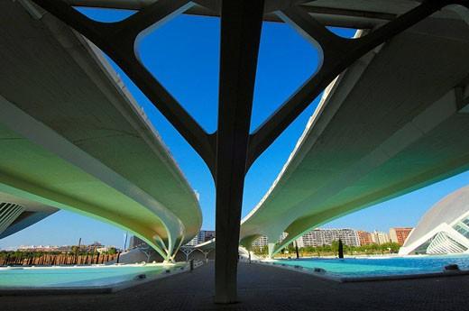 Monteolivete bridge, by S Calatrava City of Arts and Sciences Comunidad Valenciana, Valencia Spain : Stock Photo