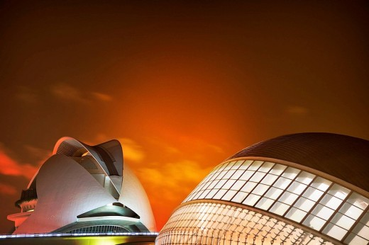 Stock Photo: 1566-483539 Picture a night access to the City of Arts and Sciences in Valencia Spain Europe
