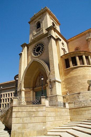 Albacete (Castilla_La Mancha). España. Templo de San Juan Bautista que se convirtió en Catedral de Albacete en el año 1.949. : Stock Photo