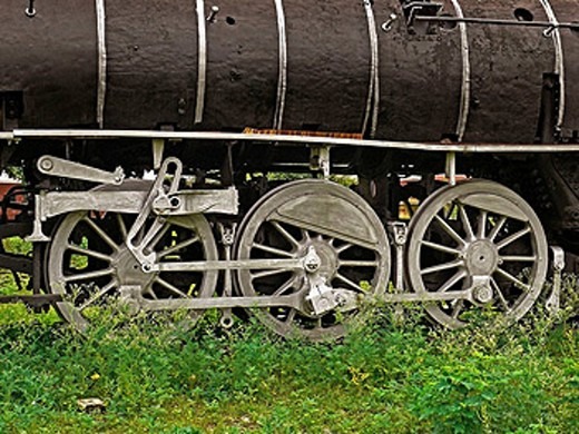 Stock Photo: 1566-484548 Steam locomotive wheel details …