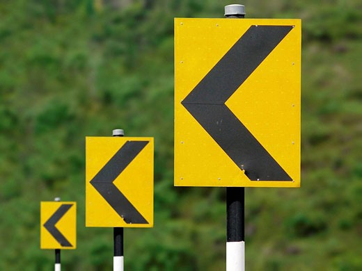 Stock Photo: 1566-484572 Road sign boards in sequence showing turning driving directions Katraj Bipass Highway, Pune, Maharashtra, India