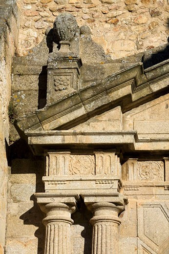 Stock Photo: 1566-484943 Details of the facade of the church of Santa Maria, Hervás, province of Caceres, Spain, Europe