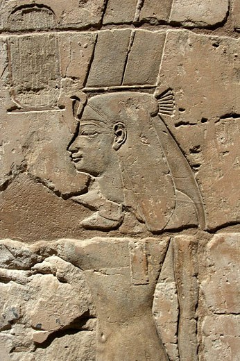 Portrait of Nefertari, Medinet Habu temple, Luxor, Egypt : Stock Photo