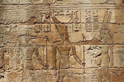 Portrait Relief , Medinet Habu temple, Luxor, Egypt : Stock Photo