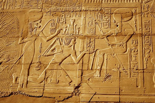 Detail of Tree of Life, judge of the underworld, king Rameses II 1304-1237 BC third king of 19th dynasty, Temple of karnak, Luxor, Egypt : Stock Photo