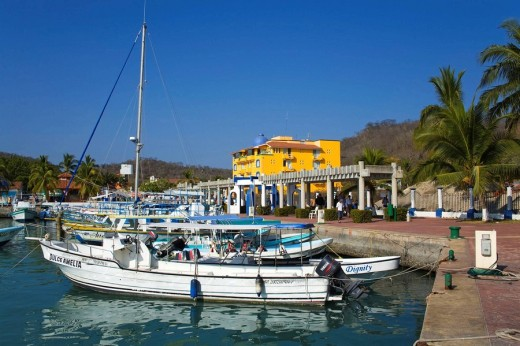Marina, Santa Cruz Port, Huatulco, Oaxaca State, Pacific Coast, Mexico : Stock Photo