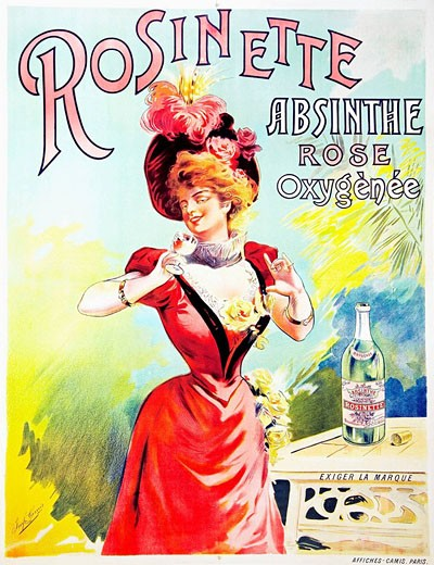 An unrecorded lithographic poster for Rosinette, Absinthe Rose Oxygenee, printed by Camis. This is the only known historical reference to a rose absinthe. : Stock Photo