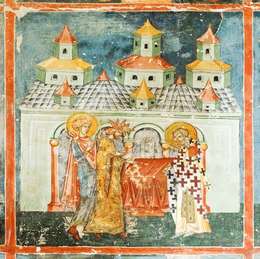 Stock Photo: 1566-486142 Church of the Beheading of St John Baptist of Arbore, Exterior wall paintings representing biblical scenes and legends, South Bucovina, Moldavia, Romania, UNESCO World Heritage