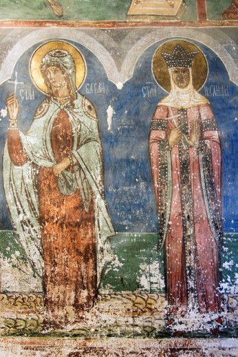 Church of the Assumption of the Virgin of the former Humor Monastery, Interior wall paintings representing biblical scenes and legends, South Bucovina, Moldavia, Romania, UNESCO World Heritage : Stock Photo