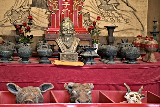 Confucious and strange animal artifacts, Confucius Temple Fuzimiao, Nanjing, China : Stock Photo