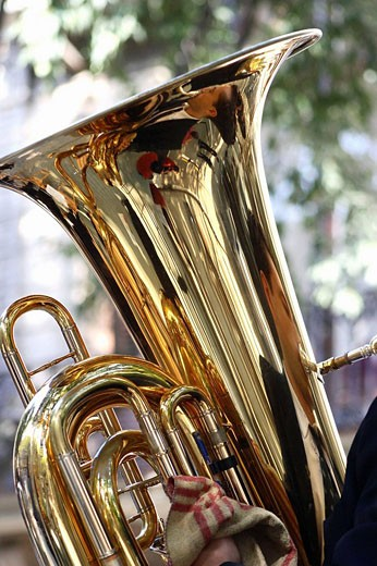 Stock Photo: 1566-488154 September 11th, Catalan National Holiday: music band, tuba. Barcelona. Catalonia. Spain.