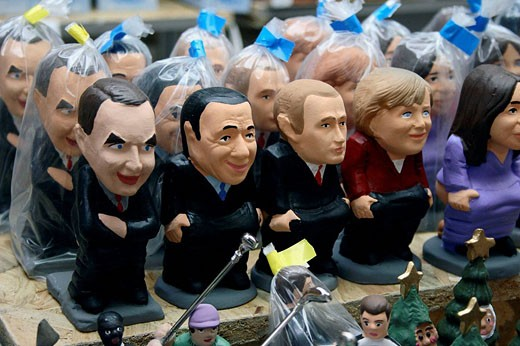 Prime ministers as ´caganers´ (particular feature of modern Catalan nativity scenes) : Stock Photo