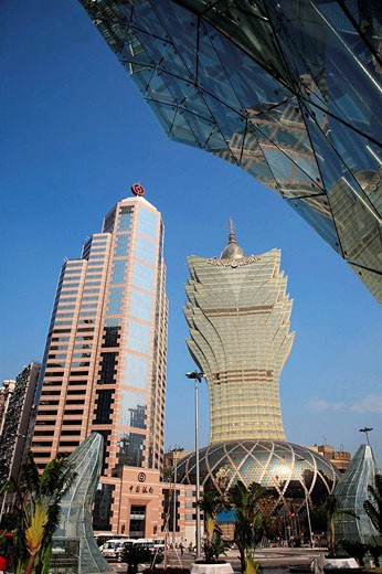 China, Macau, Bank of China, Grand Lisboa Casino : Stock Photo