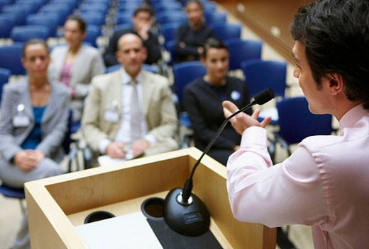 Conventioneers in lecture hall, convention center, Kursaal Center. San Sebastian, Guipuzcoa, Basque Country, Spain : Stock Photo