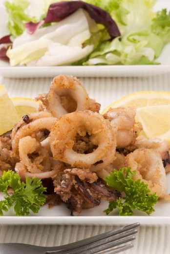 Spanish Cuisine Chipirones a la andaluza Andalucian deep-fried squids : Stock Photo