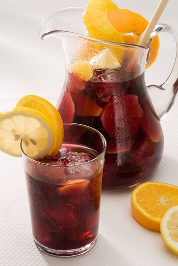 Spanish Cuisine Sangria Red wine punch : Stock Photo